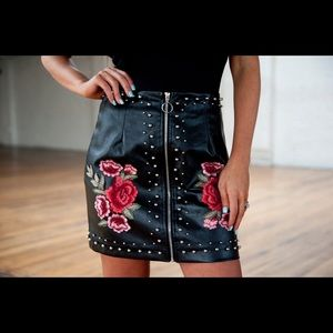 Never worn leather studded embroidered skirt!!!